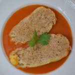 Töltött paprika/paradicsomos húsgombóc – készült az OnLive© főzőiskolában